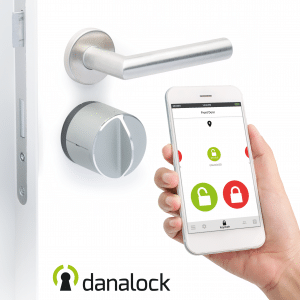 Danalock V3 in door with smart phone app displayed